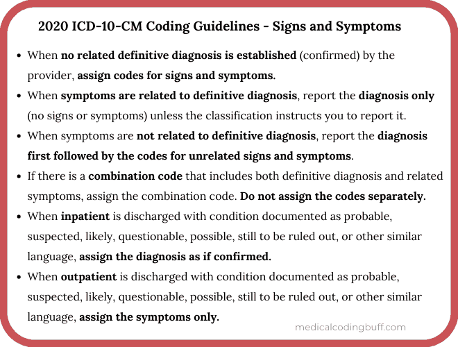 ICD-10-CM Codes to know if you're in love and 2020 ICD-10-CM Coding Guidelines - Signs and Symptoms