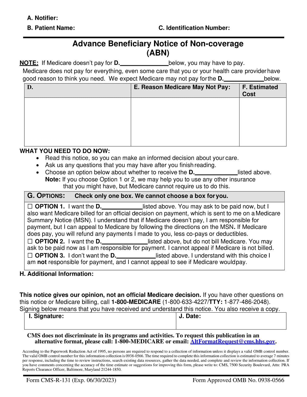 An Advance Beneficiary Notice (ABN) signed by Medicare beneficiaries