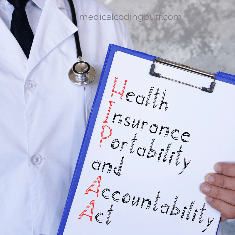 physician holding HIPAA sign and medical coding business of medicine