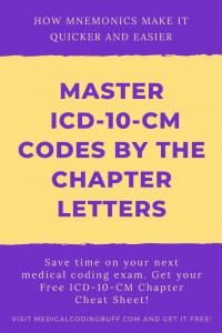 image about Mastering ICD-10-CM Codes by the Chapter Letters using mnemonics and getting a free cheat sheet