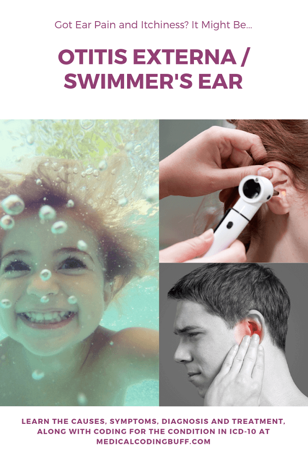 If you have ear pain and itchiness, you may have Otitis Externa, or Swimmer's Ear. Child swimming, and physician using otoscope to view ear, and person with ear pain