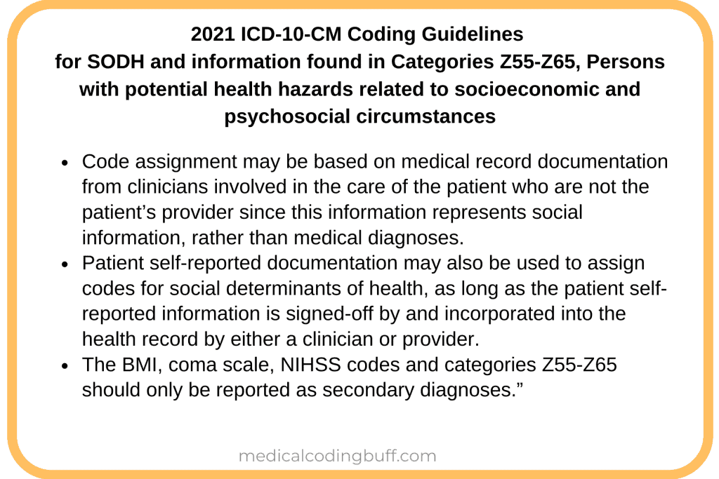 ICD-10-CM Coding guidelines to help with coding for social determinants of health